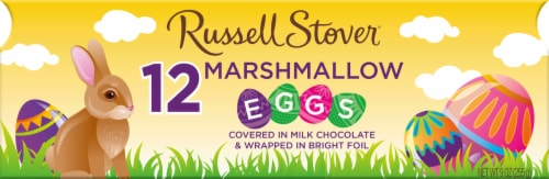 Russell Stover Milk Chocolate Marshmallow Egg Crate Perspective: front