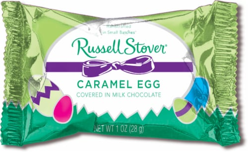 Russell Stover Milk Chocolate Covered Caramel Eggs Perspective: front
