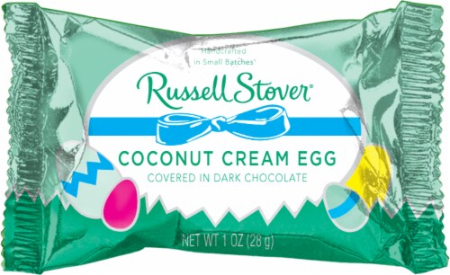 Russel Stover Dark Chocolate Covered Coconut Cream Egg Perspective: front