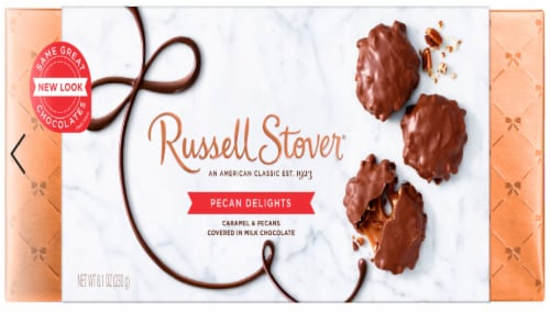 Russell Stover Pecan Delights Box Perspective: front