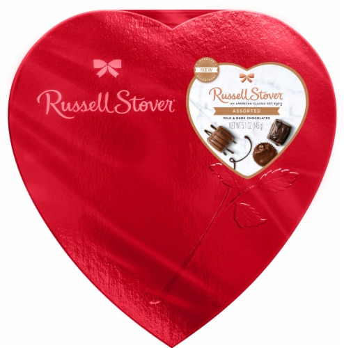 Russell Stover Assorted Milk & Dark Chocolates Heart Box Perspective: front
