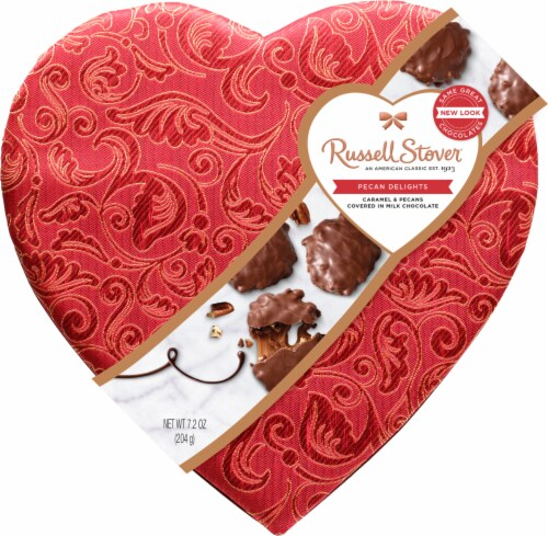 Russell Stover Pecan Delights Caramel & Pecans in Milk Chocolate Satin Heart Box Perspective: front