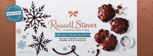 Russell Stover Sea Salt Pecan Delights Chocolate Holiday Box Perspective: front