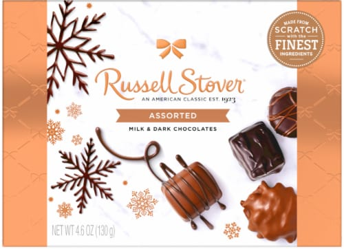 Russell Stover Assorted Milk & Dark Chocolate Box Perspective: front