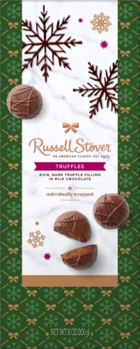 Russell Stover Truffle Chocolate Holiday Standup Box Perspective: front