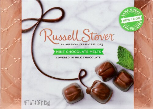 Russell Stover Mint Chocolate Melts Box Perspective: front