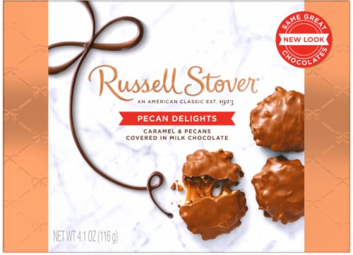 Russell Stover Pecan Delights Covered in Milk Chocolate Perspective: front