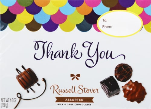Russell Stover Thank You Assorted Milk & Dark Chocolates Perspective: front