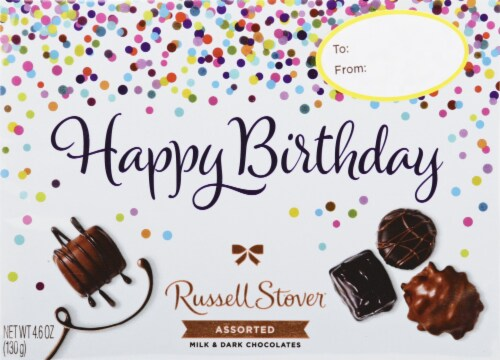 Russell Stover Happy Birthday Assorted Milk & Dark Chocolates Perspective: front