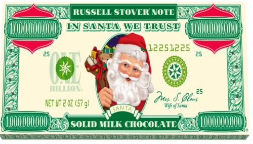 Russell Stover Santa Money Chocolate Bar Perspective: front