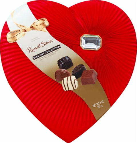Russell Stover Elegant Collection Chocolate Assortment in a Heart Box with Diamond Brooch Perspective: front