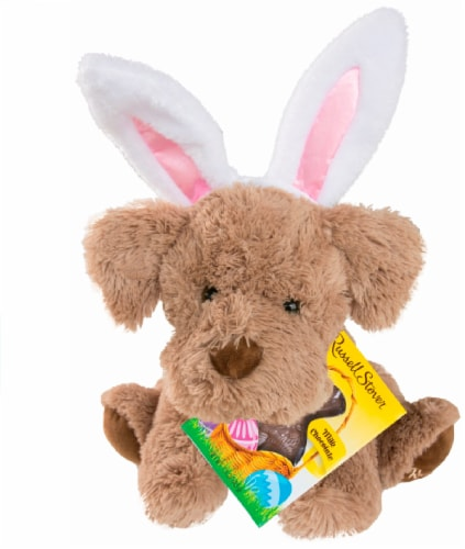 Russell Stover Coco Plush with Milk Chocolate Bunny Perspective: front