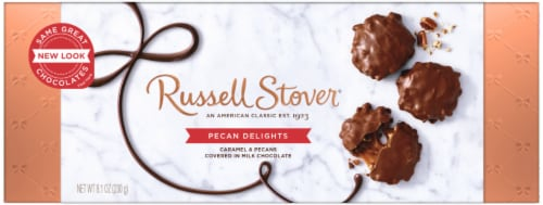 Russell Stover Caramel & Pecans Covered in Milk Chocolate Pecan Delights Perspective: front