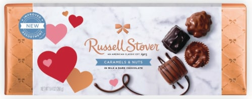 Russell Stover Caramels & Nuts Chocolate Box Perspective: front
