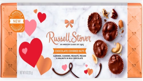 Russell Stover Chocolate Covered Nuts in Milk Chocolate Valentine's Day Box Perspective: front