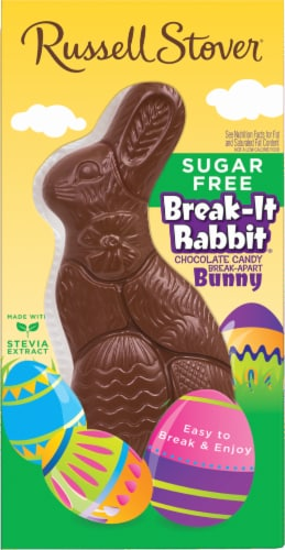 Russell Stover Sugar Free Break-It Rabbit Solid Chocolate Bunny Perspective: front