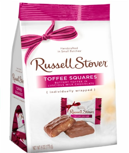 Russell Stover Milk Chocolate Toffee Squares Mini Gusset Bag Perspective: front