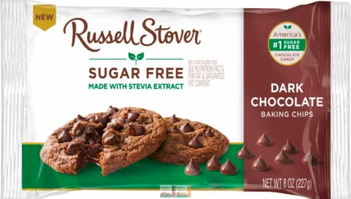 Russell Stover Sugar Free Dark Chocolate Baking Chips Perspective: front