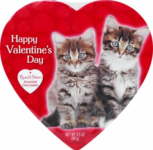 Russell Stover Assorted Chocolates in Pets Themed Heart Shaped Box Perspective: front