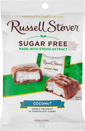 Russell Stover Sugar Free Chocolate Covered Coconut Candy Perspective: front