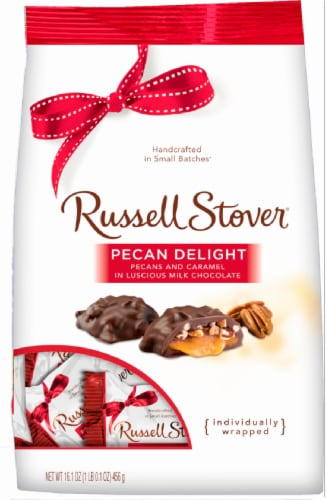 Russell Stover Milk Chocolate Pecan Delights Gusset Bag Perspective: front