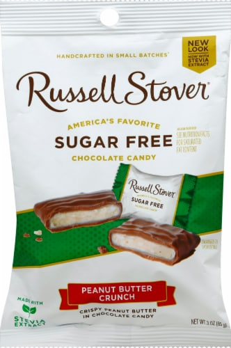 Russell Stover Sugar Free Peanut Butter Crunch Chocolate Candy Perspective: front