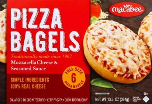 Macabee's Kosher Foods Mozzarella Cheese Bagel Pizzas 6 Count Perspective: front