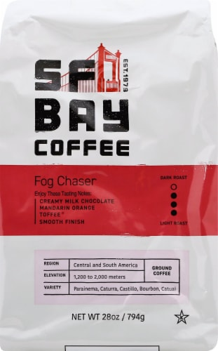 San Francisco Bay Gourmet Fog Chaser Ground Coffee Perspective: front