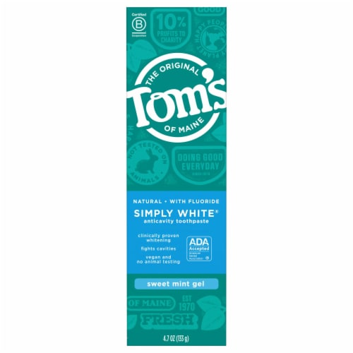 Tom's of Maine Sweet Mint Gel Simply White  Fluoride Natural Toothpaste Perspective: front