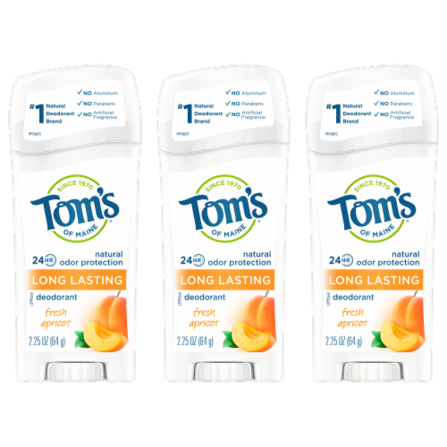Tom's of Maine Fresh Apricot Long-Lasting Stick Deodorant 3 Count Perspective: front