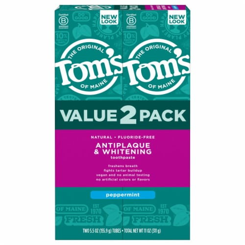 Tom's of Maine Peppermint Antiplaque & Whitening Fluoride-Free Natural toothpaste 2 Count Perspective: front