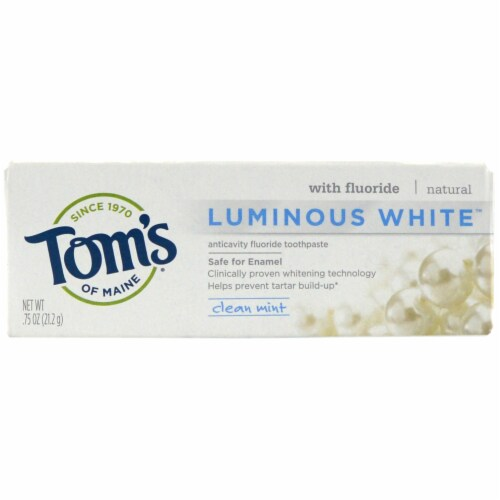 Tom's of Maine Luminous White Clean Mint Tootpaste Perspective: front