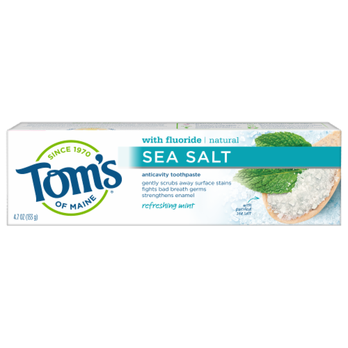 Tom's of Maine Refreshing Mint Sea Salt Anticavity Toothpaste Perspective: front