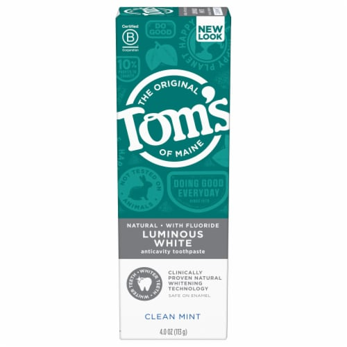 Tom's of Maine Clean Mint Luminous White Toothpaste with Fluoride Perspective: front