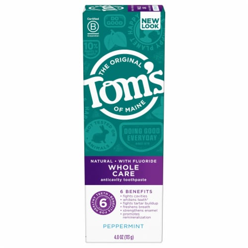 Tom's of Maine Whole Care Peppermint Anticavity Toothpaste with Flouride Perspective: front