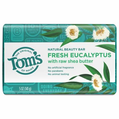 Tom's Fresh Eucalyptus with Raw Shea Butter Natural Beauty Bar Soap Perspective: front