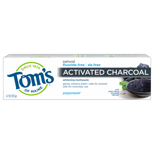 Tom's of Maine Peppermint Activated Charcoal Anticavity Toothpaste Perspective: front