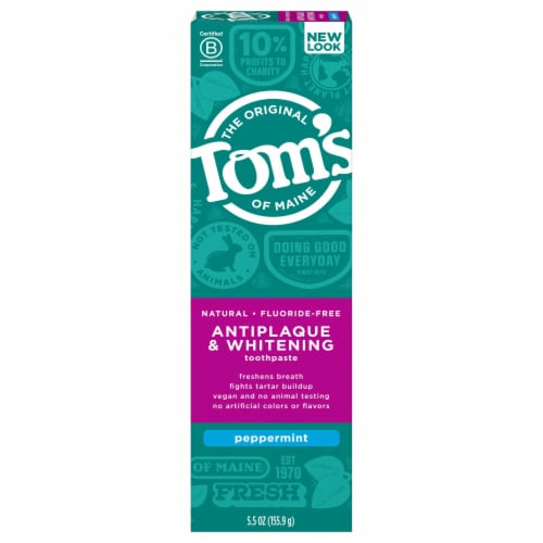 Tom's of Maine Antiplaque & Whitening Peppermint Fluoride Free Toothpaste Perspective: front