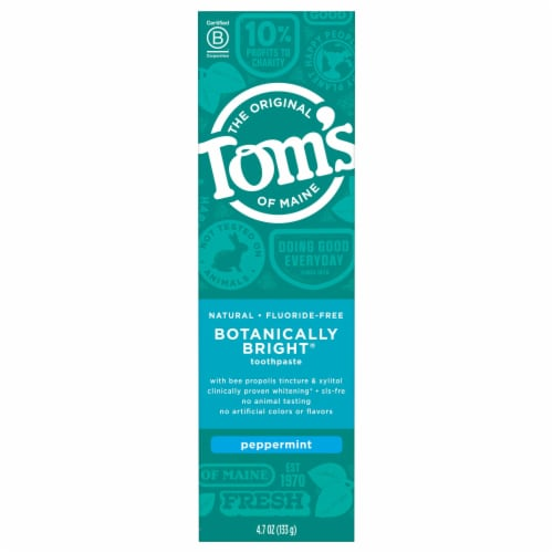 Tom's of Maine Botanically Bright Peppermint Fluoride-Free Natural Toothpaste Perspective: front