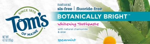 Tom's of Maine Botanically Bright Spearmint Fluoride Free Whitening Toothpaste Perspective: front