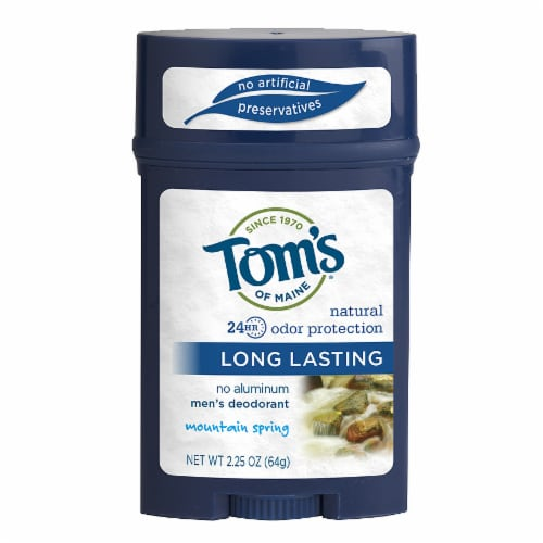 Tom's of Maine Long Lasting Mountain Spring Men's Natural Deodorant Stick Perspective: front