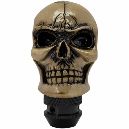 Custom Accessories Skull Style Shift Knob - White/Black Perspective: front