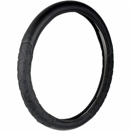 Custom Accessories Truck Tuff Heavy Duty Steering Wheel Cover - Black Perspective: front