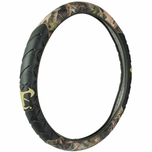 Custom Accessories Truck Sized Steering Wheel Cover - Black/Camo Perspective: front
