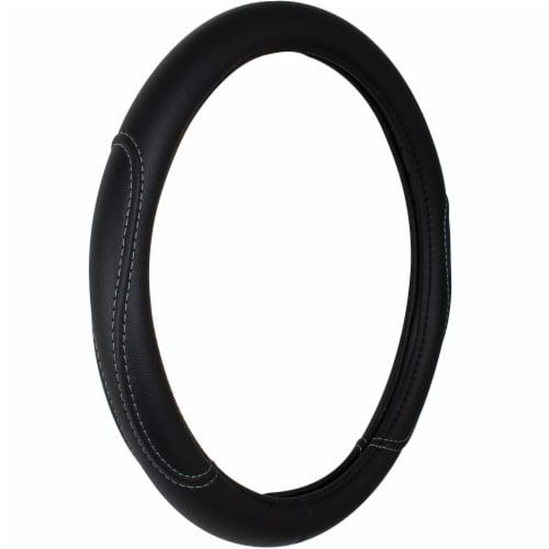 Custom Accessories Leather Steering Wheel Cover - Black Perspective: front