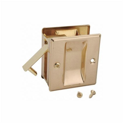 John Sterling Pocket Door Passage Lock-Bright Brass  CD-1038-US3 Perspective: front