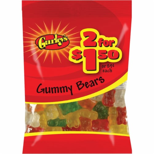 Gurley's Assorted Fruit Flavors 3 Oz. Gummy Bears 19063 Pack of 12 Perspective: front