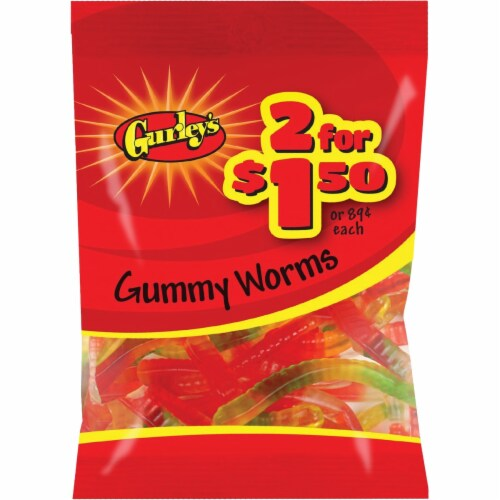 Gurley's Assorted Fruit Flavors 3 Oz. Gummy Worms 19071 Pack of 12 Perspective: front