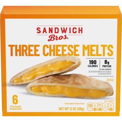 Sandwich Bros. Three Cheese Melt Pita Snack Sandwiches Perspective: front