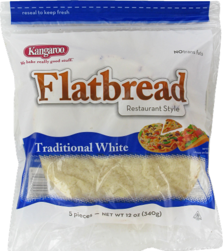 Kangaroo Traditional White Flatbread 5 Count Perspective: front